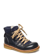Boots - flat - with lace and zip - 1989/2197/1530 NAVY/N/N