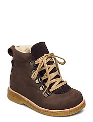Boots - flat - with lace and zip - 1660/2193 D. BROWN/D. BROWN