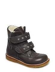 Boots - flat - with velcro - 2556/2012 DARK GREY