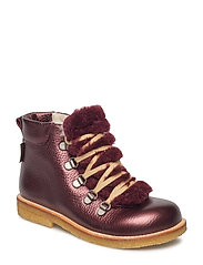 Boots - flat - with lace and zip - 1536/2018 BORDEAUX SHINE/BORD.