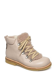 Boots - flat - with lace and zip - 2553/2019 POWDER/BEIGE