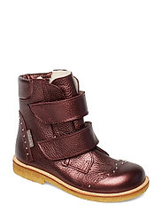 Boots - flat - with velcro - 1536 BORDEAUX SHINE