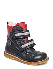 Boots - flat - with velcro - 1989/2510/2022 NAVY/DUSTY RED/