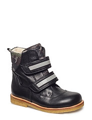 Boots - flat - with velcro - 2504/2175/2022 BLACK/ARMY PRIN