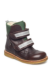 Boots - flat - with velcro - 2505/1585/2023 DARK BROWN/GREE