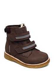 Boots - flat - with velcro - 1660/2012/2193/2022 BROWN/REFL