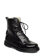 Boots - flat - with lace and zip - 1310/1163 BLACK / BLACK