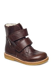 Boots - flat - with velcro - 2505 DARK BROWN