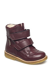 Boots - flat - with velcro - 2544 BORDEAUX