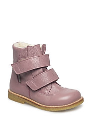 Boots - flat - with velcro - 2560 LIGHT PLUM