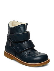 Boots - flat - with velcro - 2633 PETROL BLUE