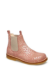 Booties - flat - with elastic - 2491/010 CORAL FLOWER/BEIGE