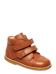 Boots - flat - with velcro - 1431 COGNAC