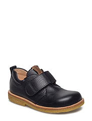 Shoes - flat - with velcro - 1933/1589 BLACK/DARK COGNAC