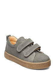 Shoes - flat - with velcro - 2672 OLIVE