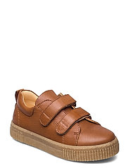 Shoes - flat - with velcro - 1545 COGNAC