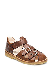 Sandal with two buckles in front - 2509 COGNAC