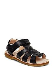 Sandals - flat - open toe - op - 1604 BLACK