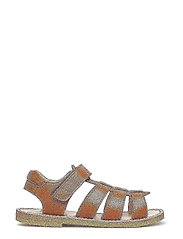 Sandals - flat - open toe - op - 2415 COGNAC