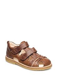Sandal with 2 velcro closures - 2509 COGNAC