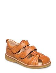 Sandal with 2 velcro closures - 2621 COGNAC