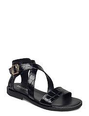 Sandals - flat - open toe - op - 1674 BLACK CROCO