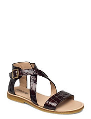 Sandals - flat - open toe - op - 1672 BROWN CROCO