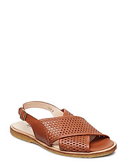 Sling-back sandal with hole pattern and buckle. - 1431 COGNAC