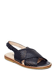 Sling-back sandal with hole pattern and buckle. - 1604 BLACK