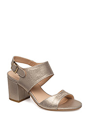 Sandals - block heels - open toe - 2424 SILVER GLITTER