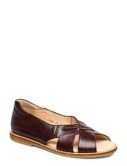 Sandals - flat - open toe - op - 1836/002 DARK BROWN/DARK BROWN