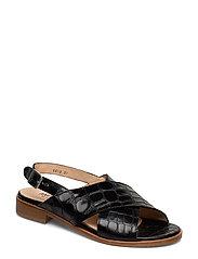 Sandals - flat - 1674 BLACK CROCO