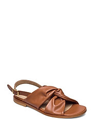 Sandals - flat - open toe - op - 1431 COGNAC