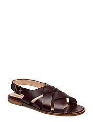 Sandals - flat - open toe - op - 1836 DARK BROWN