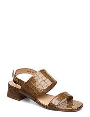 Sandals - Block heels - 1671 TAN KROKODILLE