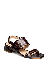 Sandals - Block heels - 1672 BROWN CROCO