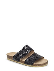 Sandals - flat - open toe - op - 2183 BLACK W. BLACK DOT