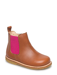 Booties - flat - with zipper - 1431/033 COGNAC/PINK