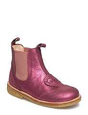 Booties - flat - with elastic - 2628/022 PINK GLITTER/ROSE