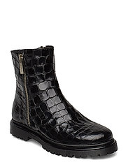 Boots - flat - with zipper - 1674 BLACK CROCO