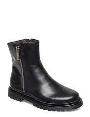 Boots - flat - with zipper - 1835 BLACK