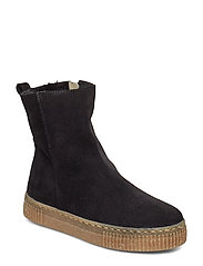 Boots - flat - with zipper - 1163/2014 BLACK/BLACK LAMB WOO