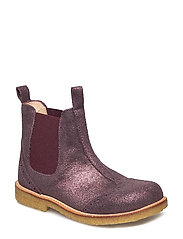 Booties - flat - with elastic - 2456/031 BORDEAUX GLITTER/BORD