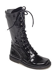 Long boot with laces. - 1310 BLACK