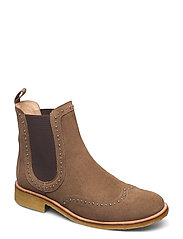 Booties - flat - with elastic - 1198/003 LIGHT COGNAC/ BROWN