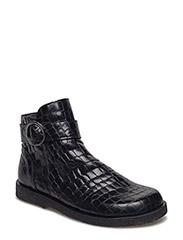 Booties - flat - with zipper - 2465 BLACK CROCO