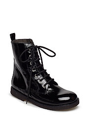 Boots - flat - with lace and zip - 1310 BLACK