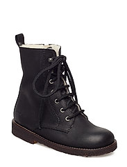 Boots - flat - with lace and zip - 2100 BLACK
