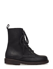 Boots - flat - with lace and zip