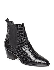 Booties - Block heel - with elas - 1674/019 BLACK CROCO/ BLACK